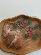 Vintage Multi Products Inc Usa Molded 1940-50s Tray Bird Pine Cone Trees Platter