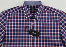 Men's HUGO BOSS Navy Red White Plaid Short Sleeve S/S Shirt Large L NWT NEW