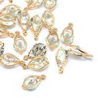 100pcs Alloy Cubic Zirconia Stone Charms Horse Eye Lt Gold Dangle Pendants 15mm