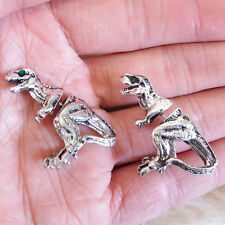 New Cool Funky Punky Stylish Silver-Color Dinosaurs Dino Stud Pierced Earrings