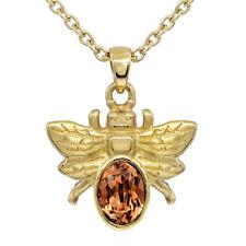 24k GOLDEN BEE NECKLACE WITH LIGHT SMOKED TOPAZ SWAROVSKI CRYSTAL BY CONTROSE