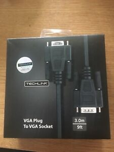 VGA HD15 Plug to Socket Monitor Lead, 3m Black - TECHLINK
