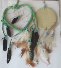 Dream Catchers 2-Pack 1 Heart Shape and 1 Drum Shape Catcher w Beads & Feathers