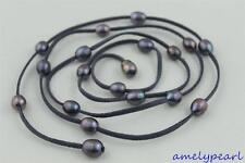Dark Gray Leather long necklace Black Freshwater pearl 48INCH 10x12mm