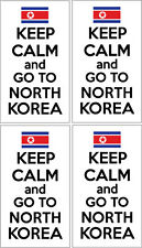 KEEP CALM AND GO TO NORTH KOREA - East Asia x 4 VINYL STICKERS - 14cm x 9cm