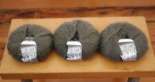 Lot of 3 LANA GROSSA Italian Babykid Superkid MOHAIR Blend Yarn Grey 200m 50g