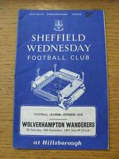 30/09/1967 Sheffield Wednesday v Wolverhampton Wanderers  (Creased). Item In ver