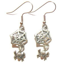 Spider Web Earrings Halloween Antiqued Silver Fishhook Gothic Witch IN GIFT BOX
