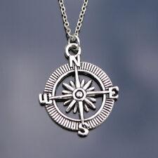 Silver Compass Necklace Chain Pendant Alloy Nautical Sailing Boat Sea Travel