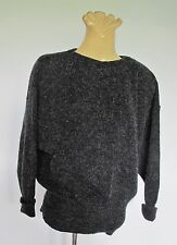 JUMPER Dark Grey Fleck BATWING Sleeve 1980s Genuine VINTAGE Sweater SzS Knit Top