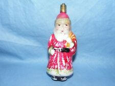 Christmas Figural Light Bulb Santa Claus With Sack Vintage Milk Glass Antique