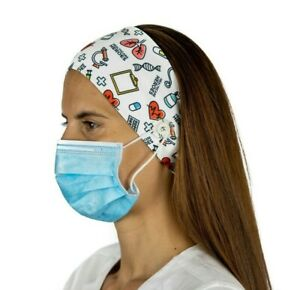 White Print Nurse Headband with Buttons