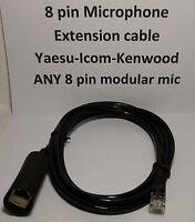 MICROPHONE EXTENSION CABLE 8 PIN RJ45 MOTOROLA YAESU ICOM KENWOOD BLACK 7 feet