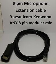 MICROPHONE EXTENSION CABLE 8 PIN RJ45 MOTOROLA YAESU ICOM KENWOOD BLACK 7 feet
