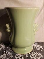 Vintage McCoy Pottery Vase Green 2 Handle Berry Leaves