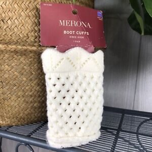 NEW Merona Boot Cuffs Knee High Knit Crochet Ivory Off White New in Package