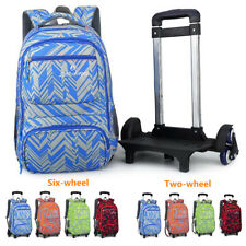 Kids Boys Trolley Backpack Removable Luggage Student School Bag With 2/6 Wheels