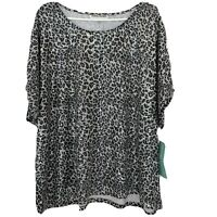 "Cathy Daniels ""Shadowplay"" Sequin Animal Print Short Sleeve Top Size 3X NWT"