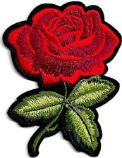 Woven IRON-ON PATCH Sew Embroidery Applique Fashion Badge Flower RED ROSE #a