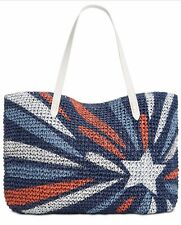 💯INC Tropical Straw Tote Extra Large Beach Shoulder Bag Blue White Star Red $39