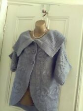 Ladies size 16.Grey,chunky knit,short sleeve,cardigan.Large collar.