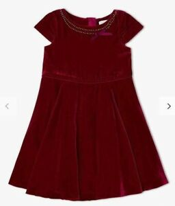 John Lewis & Partners Heirloom Collection Velvet Dress / Red 3 Years New