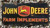 VINTAGE PORCELAIN JOHN DEERE SIGN USA OIL GAS PUMP FARM IMPLEMENTS TRACTOR DEER