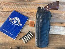 """Vintage Tex Shoemaker Black Basketweave Leather Duty Holster for S&W L Frame 6""""."""
