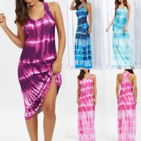 Womens Sleeveless Boho Tie-Dye Illusion Gradient Print Racerback Long Tank Dress