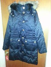 ecko red Full length long puffer coat women's sz M , Fur lined hood ,