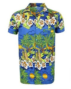 MENS HAWAIIAN SHIRT STAG BEACH HAWAII ALOHA  SUMMER HOLIDAY FANCY BLUE SUN
