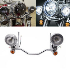 Chrome Fog Spotlight Passing Lamp Mount Turn Signal Light Bar For Harley Touring