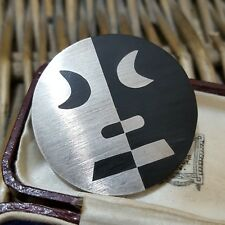 VINTAGE STERLING SILVER BROOCH/PENDANT, TAXCO MEXICO, LARGE MAYAN FACE