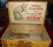 Old Chest Trunk Wood Deco Voyage le Chat HOFFMANN Rare Star Nineteenth century.