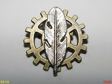 steampunk brooch badge pin cog gearwheel silver feather quill writer author