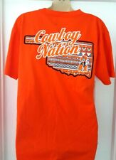 OKLAHOMA STATE Womens T Shirt Medium Orange Cowboy Nation Back Logo Three Square