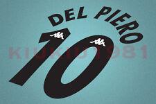 Juventus Del Piero #10 1997-1998 Awaykit Nameset Printing