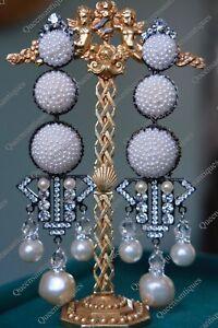"LAWRENCE VRBA Stunning OOAK Seed Beads Art Deco Earrings 4.0"""