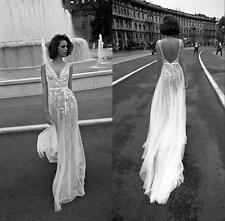 Latest Backless Lace Wedding Dress Beach Bridal Gown Custom Size 4 6 8 10 12 14+