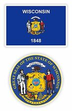 Wisconsin State Flag + SEAL Bumper Stickers Decal United States Laptop Tablet PC
