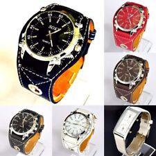 Soki Ladies Oversize 44mm Case WIDE Strap Faux Leather Analog Quartz Wrist Watch