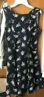 Womens Juniors FOREVER 21 Sleeveless Skater Dress Navy Floral S NEW NWT