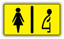 "Restroom Women And Pregnant Toilet Sign Car Bumper Sticker Decal 6"" x 3"""