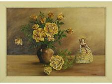 Bodegón, Flores por Clem Hill-petróleo a bordo, Marco De Madera, Firmado, Original