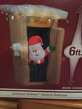 ANIMATED OUTHOUSE SANTA CHRISTMAS 6 FT TALL  INFLATABLE AIRBLOWN YARD DECOR NIB