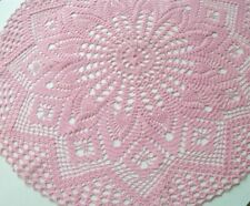 """Crochet Doilies Handmade Pink Color size 24"""" Suitable for Decor Beautiful table"""