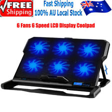 """Laptop Cooling Cooler Pad 6x Silent Fan Adjustable Height Stand 6 Speed 7-15.6"""""""