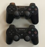 Lot of 2 Sony Playstation 3 PS3 Black Controllers CECHZC2U & A1 - Need Cleaning