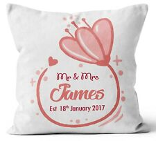 Personalised Any Text Name Cushion Floral Design Mothers Day Wedding Gift 3