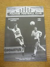 17/02/1987 Fulham v Rotherham United  . Item appears to be in good condition unl